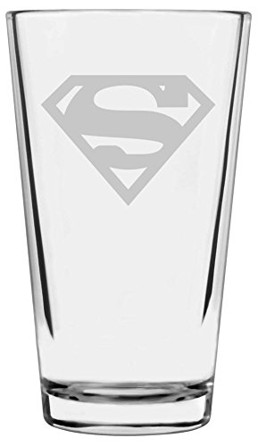 Superman Themed Etched All Purpose 16oz Libbey Pint Glass (Letter S) - Logo Etched Glass