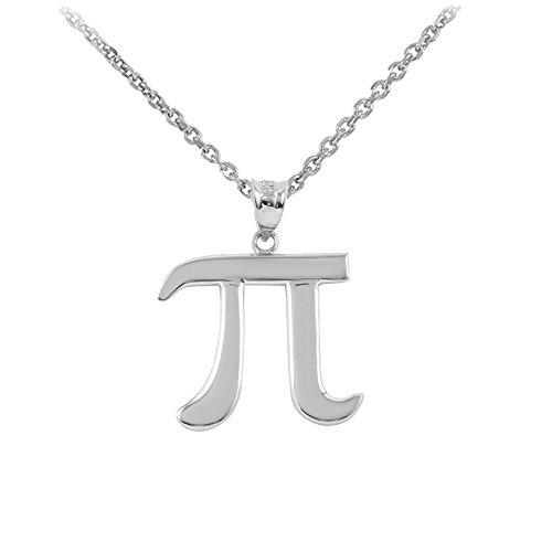 14k White Gold Mathematical Pi Symbol Pendant Necklace, 18
