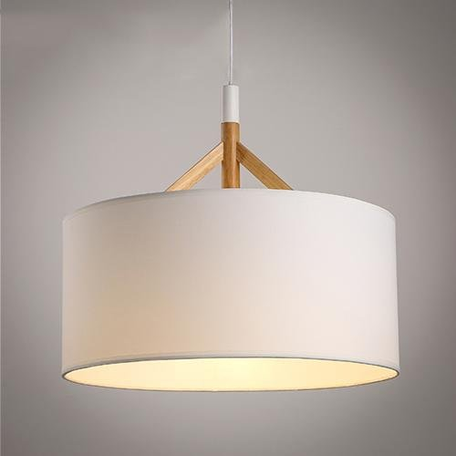 Bedroom 400 Wood (SSBY Scandinavian modern creative minimalist lamp single head wood bedroom den restaurant cloth Lampshade chandelier diameter 400/500mm , D)