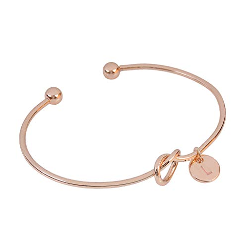 Clearance! Hot Sale! ❤ European and American Style Heart Shape Metal Simple Knotted Bracelet 26 Letters Under 5 Dollars Valentine's Day Gifts for Girlfriend/Boysfriend 2019 New ()