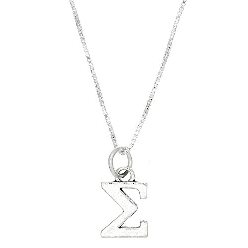 (Sterling Silver Oxidized Sigma Greek Sorority Letter Charm with Box Chain Necklace (20 Inches))