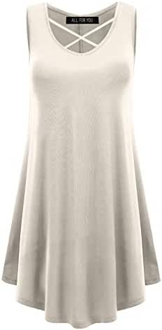 ALL FOR YOU Women's Sleeveless Sexy Cross Neck Tunic Top