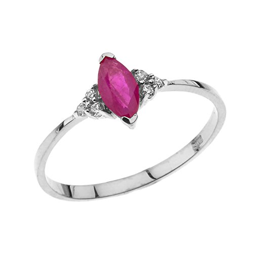 (Dazzling 10k White Gold Genuine Marquise Ruby with White Topaz Proposal/Promise Ring (Size 8.5))