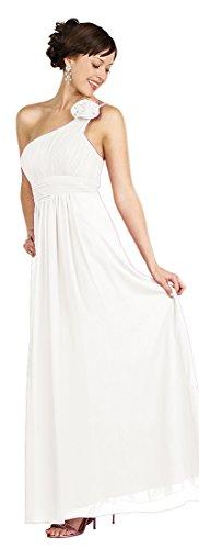 Damen Creme Elegant Empire One Lang Brautjungfernkleid Kleid Hochzeit Abendkleid Chiffonkleid für Kleid Shoulder ZSqv4nRpw