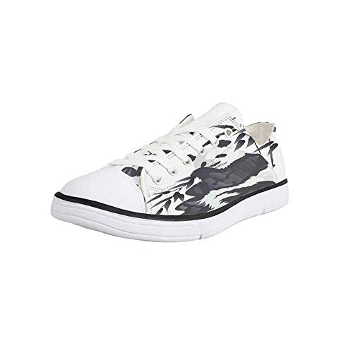 Canvas Sneaker Low Top Shoes,Panda,Giant Panda Bear Sitting in Zoo Traditional Chinese Painting Monochrome Picture Women 12/Man 9 (Best Zoo In France)