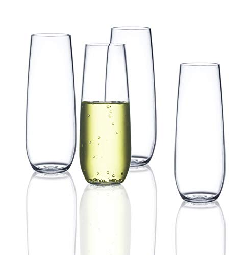 Drama Free Unbreakable Stemless Champagne Flute | FDCuvée 100% Tritan | Dishwasher safe - 8 oz | Set of 4 | Odorless | BPA Free | Not Glass Material | Indoor/Outdoor | Parties & Camping