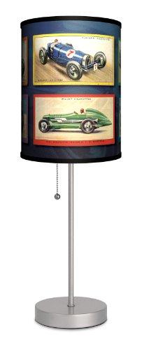 Transportation - Vintage Race Cars Sport Silver Lamp ()