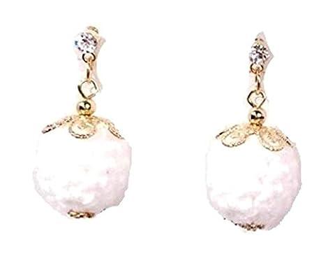 Fashion Handmade Crochet Ball Drops Dangle Earrings for Women / AZERPP010 (White)