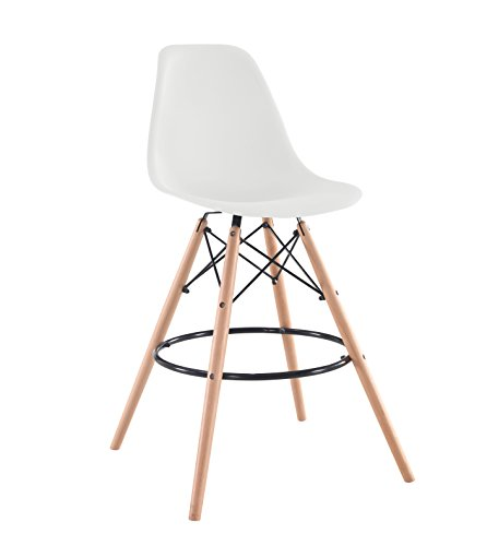 IRIS USA Mid-Century Modern Shell Barstool with Wood Eiffel Legs, 2 Pack, Cotton White - Set of 2 easily assembled barstools Plastic seats offer ergonomic shape and smooth finish; Wooden eiffel-style legs provide stability Great for use in kitchen, dining room, living room, or game room - kitchen-dining-room-furniture, kitchen-dining-room, kitchen-dining-room-chairs - 31u5kiAFH2L -