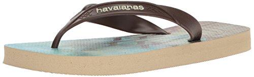 Havaianas Men's Surf Sandal Flip Flop, Sand Grey/Dark Brown, 41 BR/9/10 M - Brown Havaianas