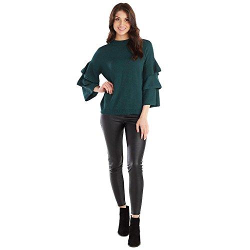 - Mud Pie Peacock Dawson Ruffle Sleeve Sweater Medium