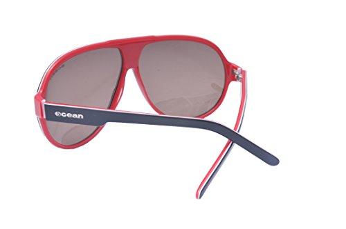 Ocean Sunglasses Jeri - lunettes de soleil polarisées - Monture : Noir/Blanc/Rouge - Verres : Fumée (19100.2) UhPtGtz