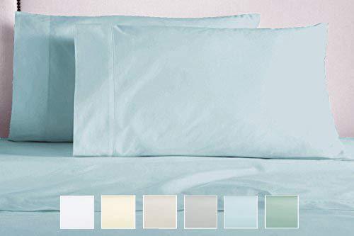 Pizuna 400 Thread Count Cotton Standard Pillowcases, Light Blue Pillow Cases Queen Size Set of 2, 100% Long Staple Cotton Satin Queen Bed Pillow Covers (Light Blue Cotton Pillowcases Standard)
