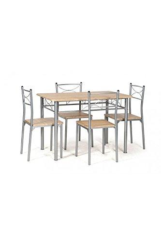 COREME ensemble table + chaises tuti chêne griffé