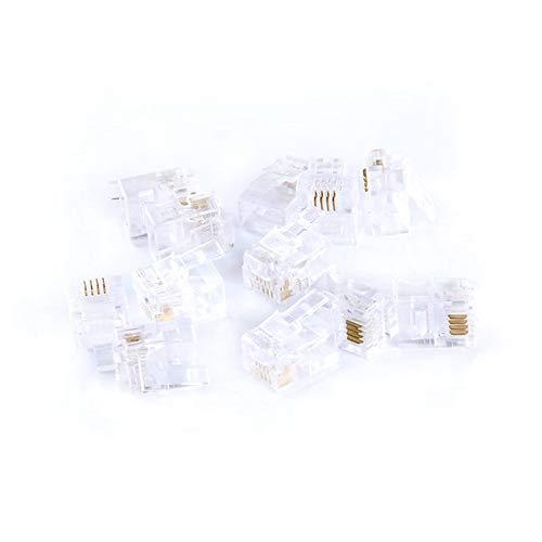 10PCS/Lot RJ11 Telephone Modular Plug Jack 6P4C 4Pins 4 Contacts RJ11 Connector ()