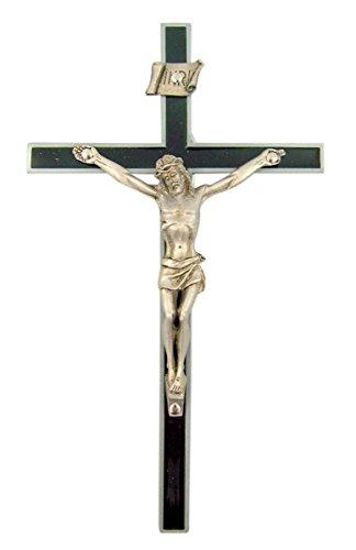 (Black Epoxy Wall Cross Crucifix with Pewter Jesus Christ Corpus, 6 Inch)