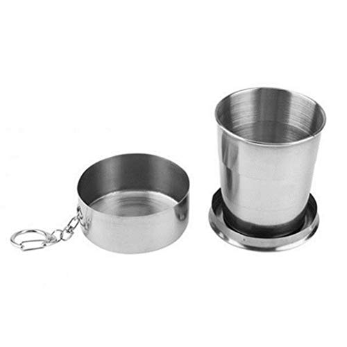Fewear Stainless Steel Camping Mug Camping Folding Cup Portable Outdoor Travel Demountable Collapsible Cup with Keychain,Stainless Steel Portable Folding Cups Telescopic Travel Camping Cup (A)