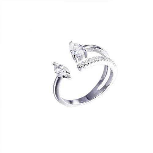 SLL Damenmode 925 Silber Tropfenform Diamant S925 Sterling Silber Ring Wassertropfen Diamant Exquisite Öffnung Einzelner Ring Liebe Wie High-End-Ehering Weiblich, Silber (Tropfenform)