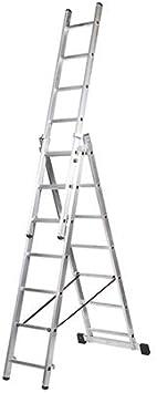 Kormax Escalera Aluminio Industrial Triple 9 Peldaños: Amazon.es: Bricolaje y herramientas