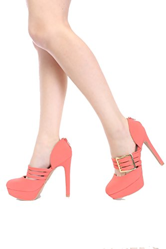 Qupid Mary Jane Triple Straps Buckle Classy High Heel Pumps Quperch-16 (8.5, Coral)