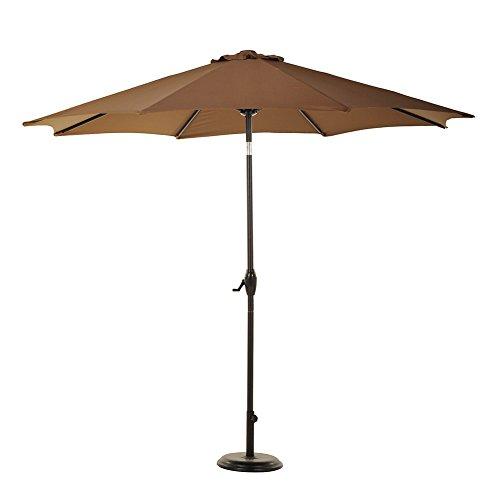 Auto Crank Tilt Outdoor Patio - 9' Patio Outdoor Market Umbrella with Aluminum Auto Tilt and Crank (Brown)