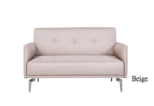 Container Furniture Direct Emma Collection Modern Fabric Upholstered 2 Person Living Room Loveseat, Beige