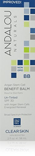 Andalou Naturals CLEAR SKIN Argan Stem Cell BB Benefit Balm, Un-Tinted SPF 30, 2 Ounce (Natural Look Tinted Moisturizer)