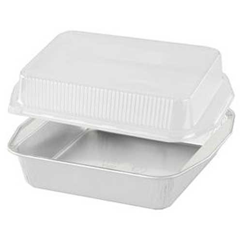 Handi Foil of America Gourmet to Go White Square Cake Pans with Dome Lids -- 100 per case. by Handi-Foil