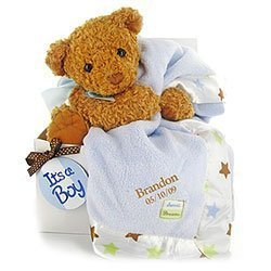 Personalized Bear Essentials Gift Set - Boy by Baby Gift Basket Company