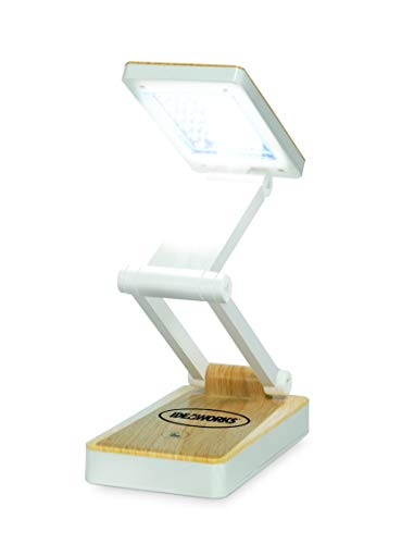 IdeaWorks JB6921WHTWD LED Lamp for Desk - Collapsible, Portable from Home to Office, White Woodgrain