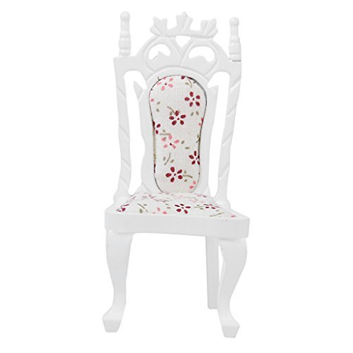 [No brand goods] dollhouse chair Bar stools chair wooden floral two-color handmade 1/12 (white)