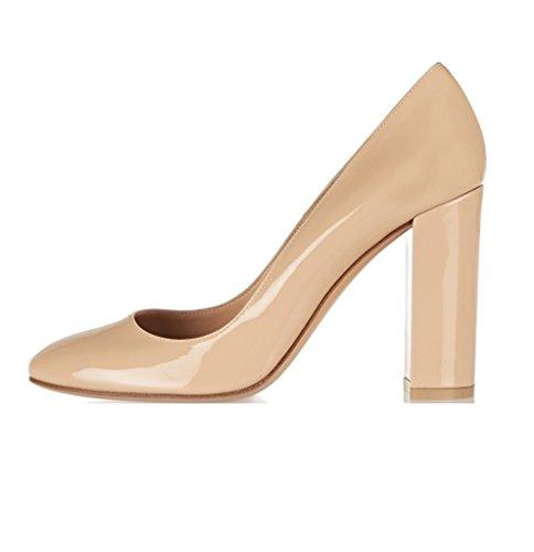 Hochzeitskleid 100mm Blockabsatz Schuhe EDEFS Heels Toe Pump Damen Runde Chunky Partei Pumps nXPPxSq6v