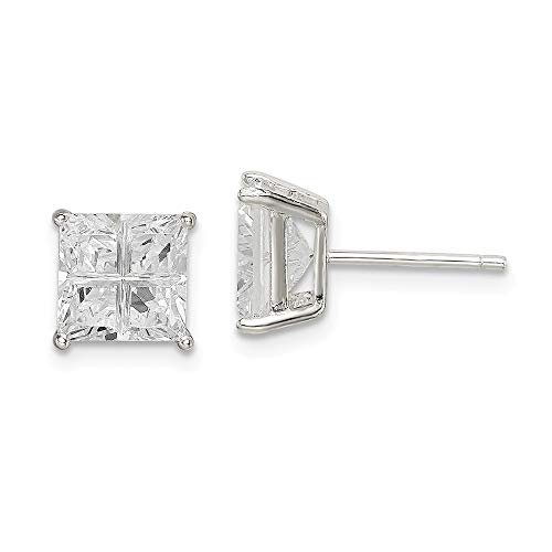 925 Sterling Silver 7mm Square Cubic Zirconia Cz Basket Set Stud Earrings Fine Jewelry Gifts For Women For Her]()