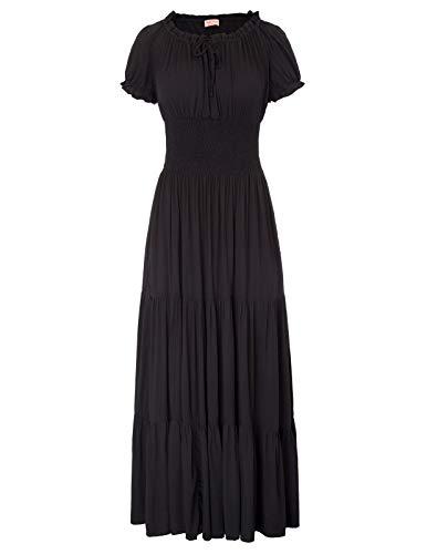 Women's Boho Stretchy Ruffle Smocked Gothic Maxi Long Dress Black Size M -