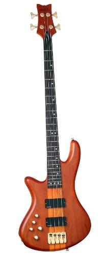 Schecter Stiletto Studio-4 Electric Bass (4 String, Left Handed, Honey (Neck Thru Body Bass Guitar)
