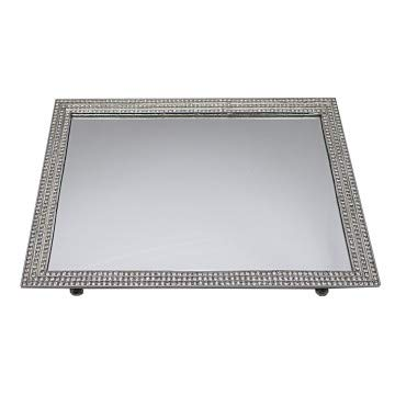 Beautiful and Stunning Sterling Silver Rectangle Vanity Mirror Tray Designed with Three Lined Genuine Crystals Border ()