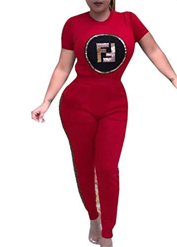 2 Piece Cheerleader Jumper - Women's 2 Pieces Outfits Short Sleeve Tops Skinny Long Pants Set Sweatshirt(Red-Small)