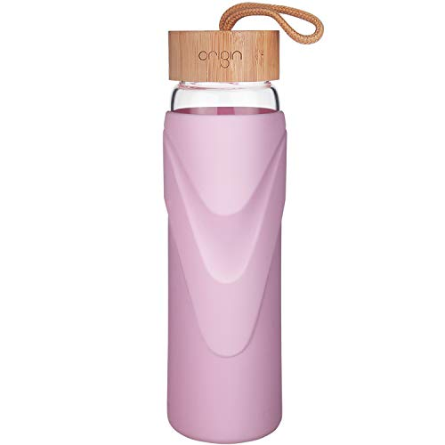 ORIGIN - Best WIDEMOUTH BPA-Free Glass Water Bottle With Protective Silicone Sleeve and Bamboo Lid - Dishwasher Safe (Ash Rose, 32 Ounce) ()