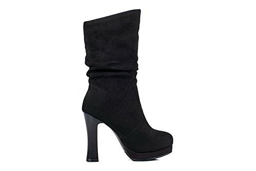 Toe High Solid Urethane Round Platform ABL09683 Pull Womens Black On Boots Heels BalaMasa p5y8Xqwq