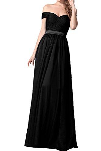 ivyd ressing Mujer Fácil a partir de la línea de hombro a gasa vestido de fiesta Prom vestido fijo para vestido de noche negro