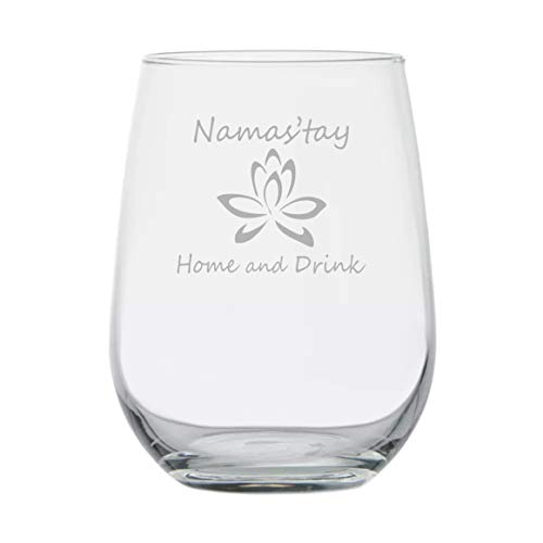 Yoga Instructor Gift | Namas'tay Home and Drink | Stemless Wine Glass | Funny Birthday Gift | Yogi | Yoga Mat | Fitness Gym Buddy | Yoga Pants | Zen Pilates | Yoga Teacher | Namaste | Chakras | Lotus]()