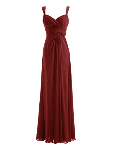 Diyouth Long Spaghetti Straps Bridesmaid Dresses Sweetheart Formal Prom Gowns Burgundy Size 2