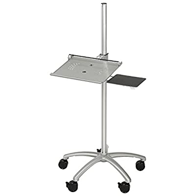 Height Adjustable Anti-Theft Mobile Laptop Computer Workstation Security Cart, Silver