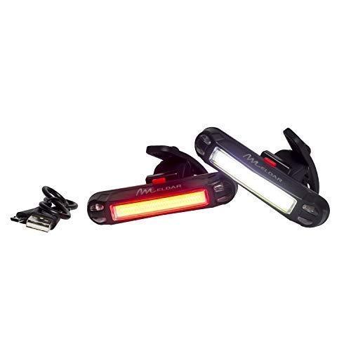 Luce da Bicicletta, fanale Posteriore Super Bright LED. Luce Lampeggiante USB Ricaricabile con 6 modalità. Fanale Super Luminoso e Resistente all'Acqua (Colore Bianco Frontale) Meldar