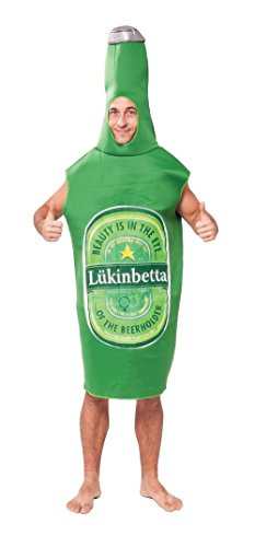Rasta Imposta Lightweight Beer Bottle Costume, Green/White, One Size ()
