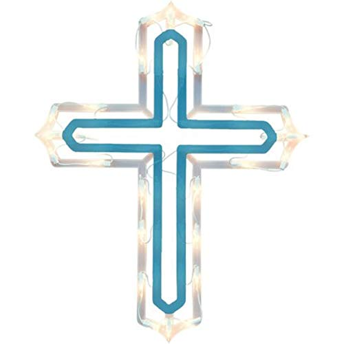 - Holiday Time Blue Lighted Cross Ornamental Indoor or Outdoor