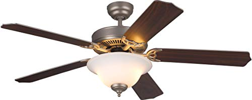 Monte Carlo 5HS52BPD Flush Mount, 5 White Blades Ceiling fan with 60 watts light, Brushed Pewter