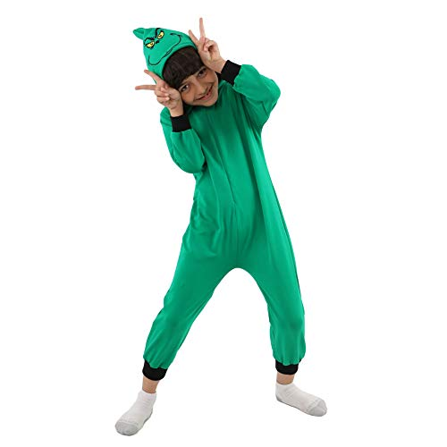 Da Mai Child Girls Boys The Grinch Jumpsuits Green Hooded Pajamas Costume Festival Play Costume -