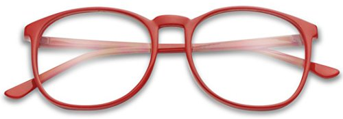 SunglassUP - Over Sized Round Thin Nerdy Fashion Clear Lens Aviator Eyewear Glasses (Red (55mm), - Red Eyeglass Frames Round