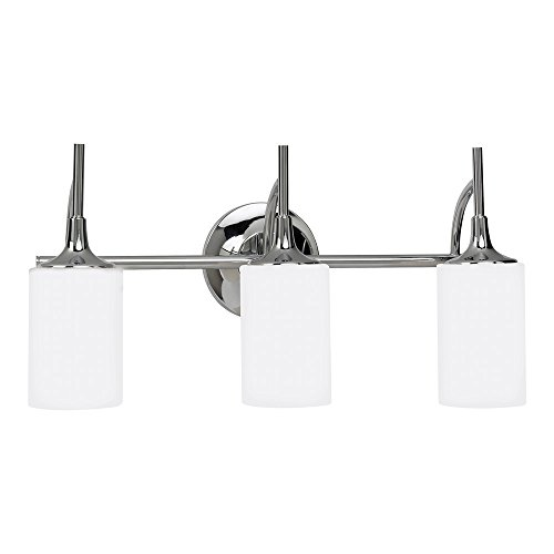 Sea Gull Lighting 44954-05 Stirling Three-Light Bath or Wall Light Fixture with Cased Opal Etched Glass Shades, Chrome Finish